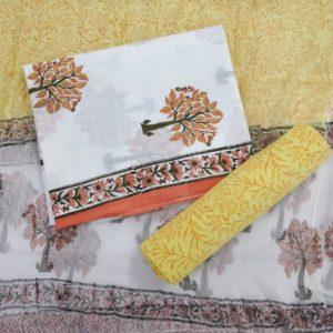 White-Yellow Cotton Salwar Suit