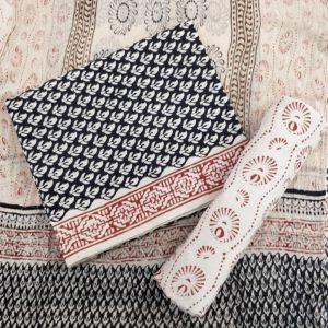 Three Petal Motif Cotton Salwar Suit Material with Chiffon Dupatta - Black-Cream