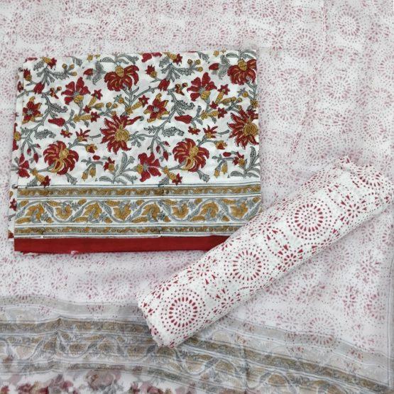 Art Nouveau Motif Cotton Salwar Suit Material with Chiffon Dupatta - White-Red