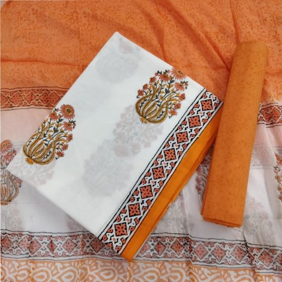 Damask Motif Cotton Salwar Suit Material with Chiffon Dupatta - White-Orange