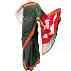 Soot-Black-Colour-Saree-with-Green-Orange-Checks