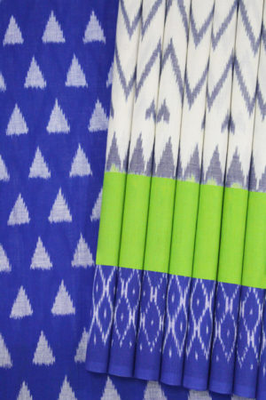 White-Blue Double Ikat Diamond Seamless Pattern Pure Cotton Pochampally Saree (1)