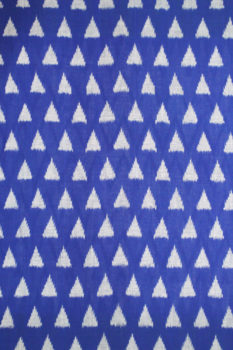 White-Blue Double Ikat Diamond Seamless Pattern Pure Cotton Pochampally Saree (2)