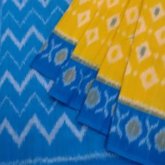 Yellow-Blue Double Ikat Diamond Pattern Pure Cotton Pochampally Saree