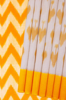 Yellow-White Double Ikat Pure Cotton Saree Online (1)