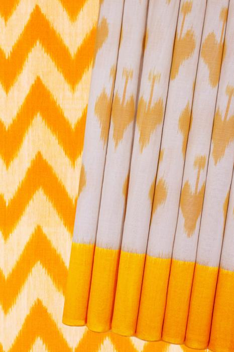 Yellow-White Double Ikat Pure Cotton Saree Online (1)