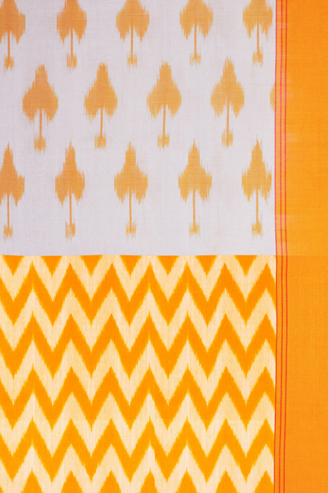 Yellow-White Double Ikat Pure Cotton Saree Online (3)