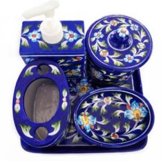 Bathroom Accessories Set - Blue Color Set