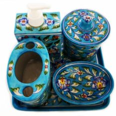 Blue Pottery Bathroom Set Sky Blue - GI tagged