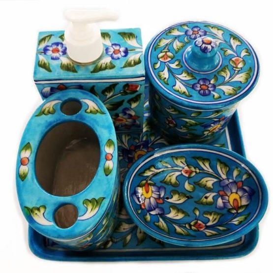 Blue Pottery Bathroom Set Sky Blue - GI tagged