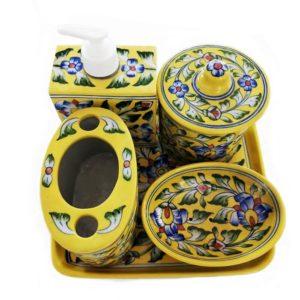Blue Pottery Bathroom Set -Yellow Colour