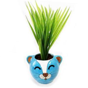 Blue Pottery Pot Cat Pattern - GI Tagged