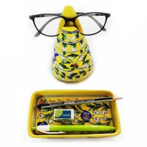 Blue Pottery Stand Specs Holder and Tray of Yellow Colour - GI tag