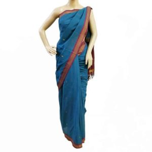 Blue-Red Pure Cotton Udupi Saree Online