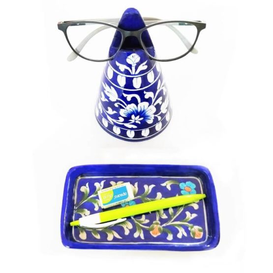 Blue Stand Specs Holder and Tray - Blue Pottery Craft - GI tag