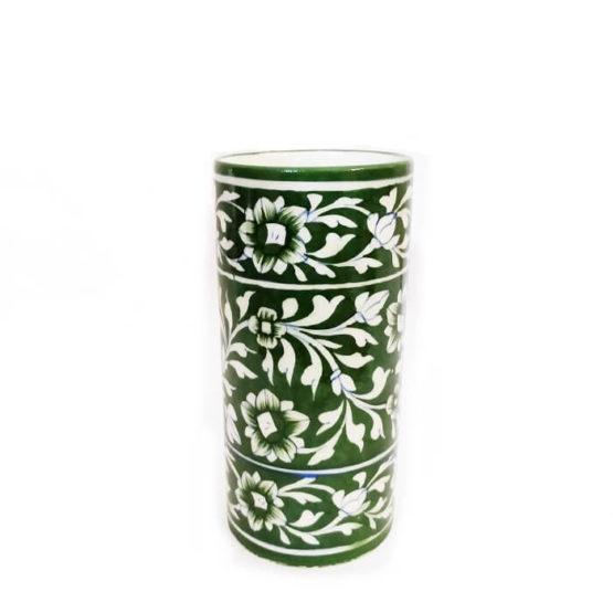 Green Cylindrical Shape Flower Vase - GI Tagged