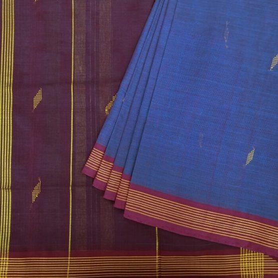 Blue Designer Udupi Cotton Saree with Maroon Border