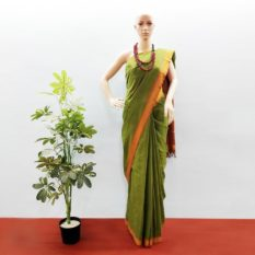 GiTAGGED Udupi Pine Green Pure Cotton Saree 1