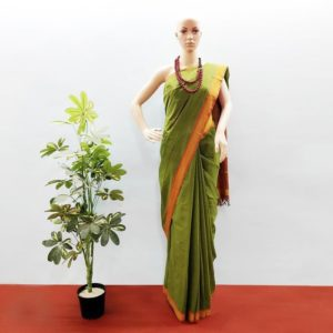 GiTAGGED Udupi Pine Green Pure Cotton Saree 1