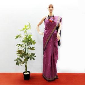 GiTAGGED Udupi Purple with Butta Pure Cotton Saree 1