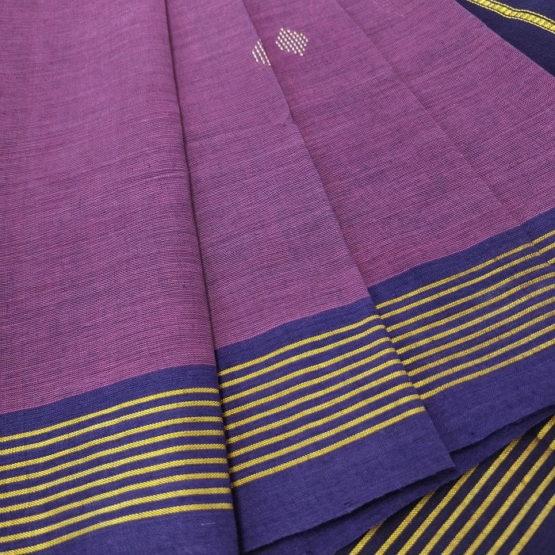GiTAGGED Udupi Purple with Butta Pure Cotton Saree 3