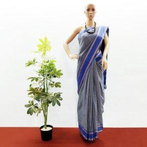 GiTAGGED Udupi Sapphire Blue small checks Pure Cotton Saree 1
