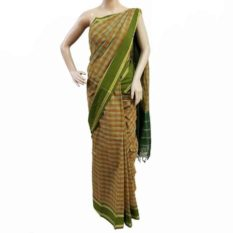 Green-Orange Cotton Saree