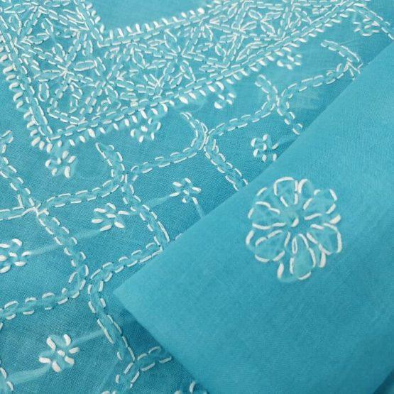 Turkish Blue Colour Cotton Salwar Suit Online India
