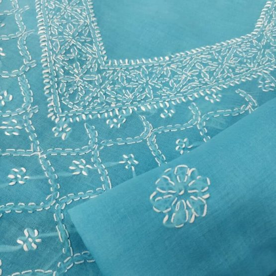 Blue Lucknow Chikankari Hand-Embroidered Salwar Suit Material