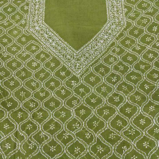 Chikankari Embroidered Salwar Material Online with Dupatta