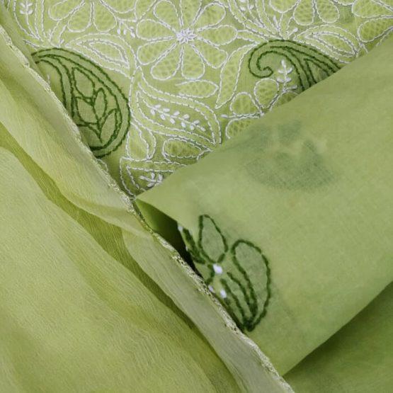 Green Chikankari Dress Material