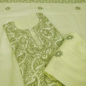 Lime Green Cotton Salwar Suit with Dupatta