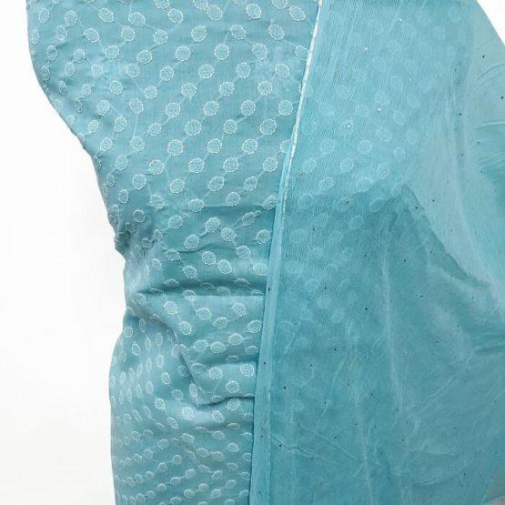 Sky Blue Lucknow Chikankari Dress Material