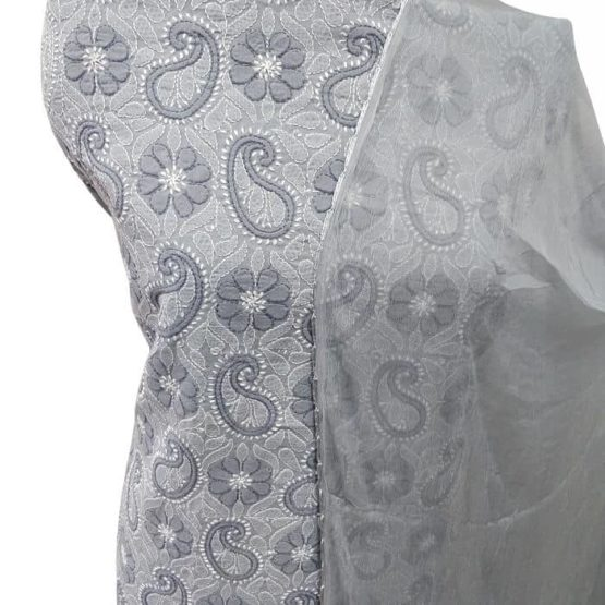 Gray Lucknow Chikankari Suits Online