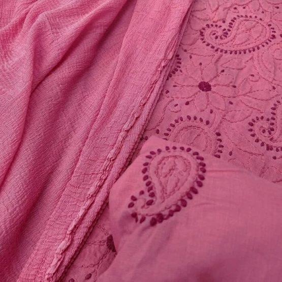 Paisley Motif Lucknow Chikankari Work Pink Suit