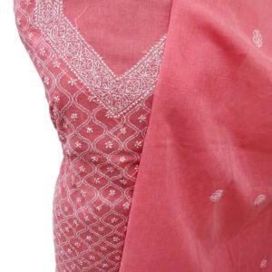 Red Lucknow Chikankari Suit