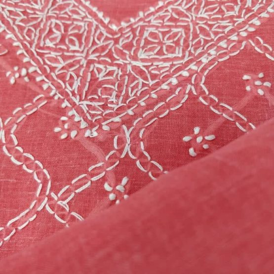 Red Lucknow Chikankari Suit - GI tagged