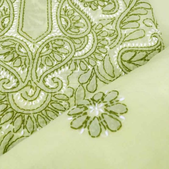 Hand Embroidered Lime Green Cotton Salwar Suit