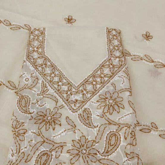 Lucknowi Suit of cotton fabric with cotton dupatta