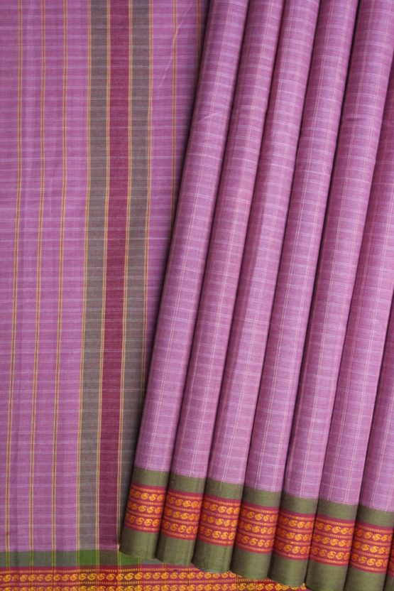 Lavender Pure Cotton Saree Online (1)