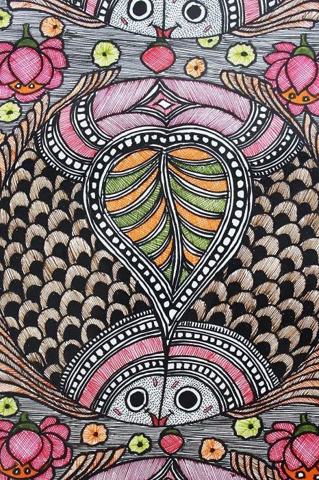 Madhubani Painting Joda Machali 3
