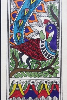 Madhubani Painting Mor with Tattoo A2