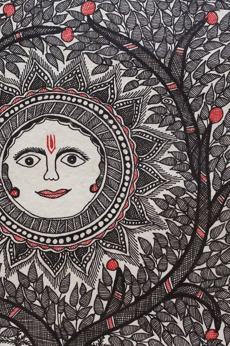 Madhubani-Painting-Sun-with-Tree-of-Life B4