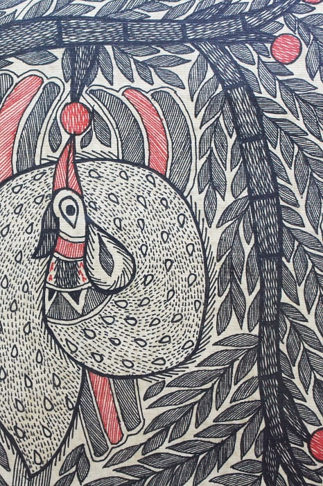 Madhubani-Painting-Tree-of-Life-with-Peacock A3