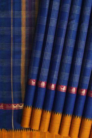 Narayanpet Blue Checks Cotton Saree (1)