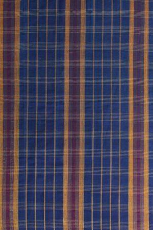 Narayanpet Blue Checks Cotton Saree (2)