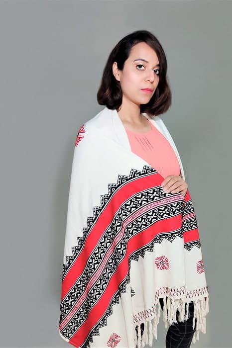 Toda Embroidery Wool-Cotton Shawl - Red 1
