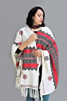 Toda Embroidery Wool-Cotton Shawl - Red 2