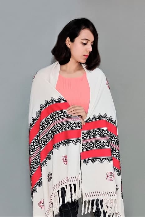 Toda Embroidery Wool-Cotton Shawl - Red 3