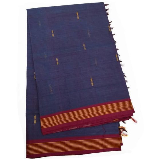 Traditional Blue Cotton Saree from Udupi